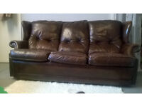 Brown, leather, studed, three-seat sofa, retro, plenty of character