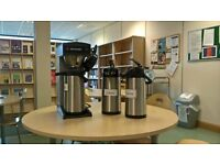Catering filter coffee machine with three 2 litre pump action thermoses.