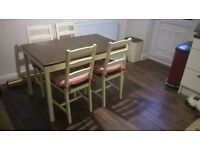Cream and chocolate dining table + 4 chairs and cushions - Call 07845033616