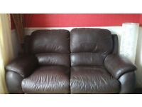 Chunky Leather Sofa - 2 Seater/Recliner. Delivery Available.