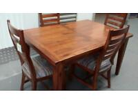 KEMBER Dining table & 4 Solid Darkwood striped fabric seated chairs
