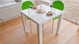 Danetti white gloss dining table and 2 modern leather dining chairs