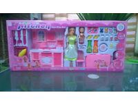 Kitchen play toy set with 2 dolls, new