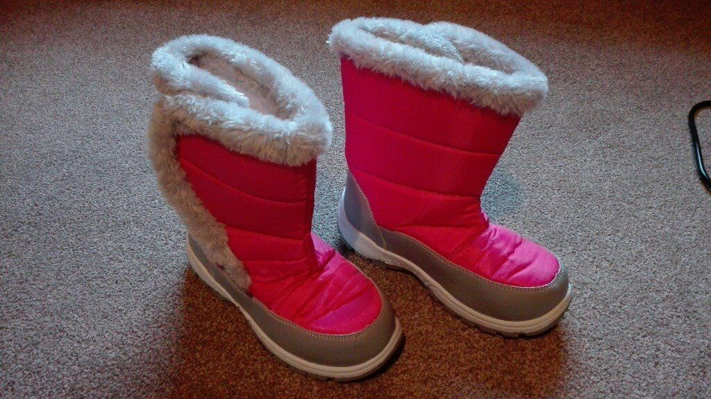 Caribou Kids Pink Fur Trim Snow Boots UK 1