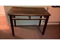 solid 2 drawer dining table, needs up cycling £25