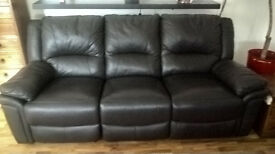 3 Seater Sofa with 2 Electric Recliners - Brown leather - Excellent condition. Hardly used.