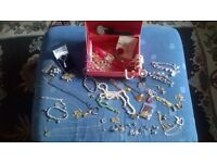 JOB LOT JEWELLERY WITH BOX.WATCHES,NECKLACES,BROOCHES ECT...NICE PIECES