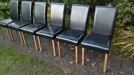 6 x Ex-display Black leather and Oak Dining Chairs