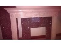 FIRE SURROUND, MARBLE TYPE , BACK PLATE AND HEARTH IN GRANITE