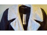 Warehouse borg collar biker coat