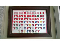 FRAMED PRINT OF AFC BOURNEMOUTH SHIRTS 1899-2014