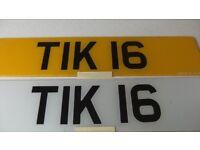 Private Cherished Number plate, Dateless TIK 16 ('TIKI 6') ideal KONTIKI motorhome.