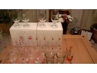 BEER/CIDER GLASSES QUALITY BRANDED HEAVY GLASS/APPROX 24/PLUS TWO CHILDS GLASSES.