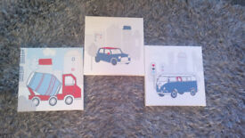 Canvas wall art x3, vehicles, great used condition