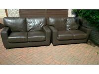 Leather sofas both matching dark brown