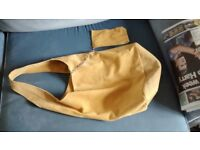 Cool boho gold coloured 70s style genuine soft italian leather shoulder bag and purse