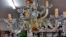 Beautiful gold and glass chandelier