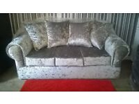 Brand New Silver Crushed Velvet 3+2 Seater Sofas Unused Still In Wrappers £375 Can Deliver