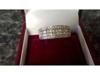 18ct white gold wedding band, eternity ring size P, dia 1.20