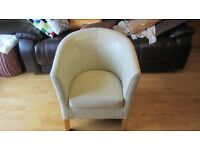Pure Leather Bucket chair Colour Cream