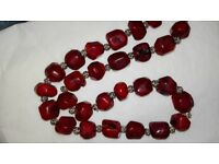 Real red stone Necklace with sterling silver ends