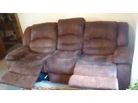 brushed suede reclining 3 seater sofa