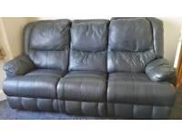 Luxury black leather recliner 3+2 sofa suite