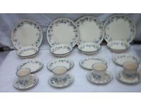 teaset bilton design blue pattern on off white background unused.stored quite a while