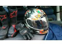 Akito leathers , agv helmet etc.