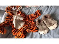 John Lewis tiger onesie (age 7) and 'bear claw' slippers (UK 13)