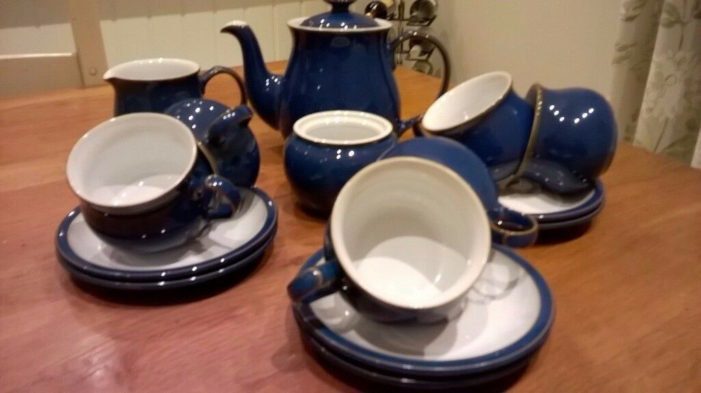 Denby Imperial Blue Tea Pot, Sugar Bowl, Milk Jug, Cups and Saucers, Gravy Boat, Butter Dish and Egg