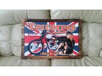 Hand Painted Triumph British Motorcycles Sign Wall Art! Hand Made Vintage Pop Art