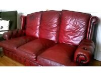 Leather sofa - oxblood red - high back - Chesterfield antique vintage style