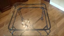 Glass table 100cm square x 70cm high (approximately) on black gold frame 4 matching chairs