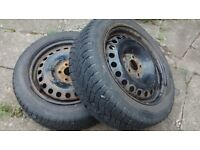"""2 X wheels with dunlop winter tyres 16"""" from mondeo"""