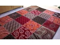 Beautiful patchwork-effect area rug 160cm x 230cm bright and funky, high pile and soft