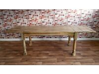 Oak Style Dining Table - Seats Up To 12 Hardwood Extendable Rustic Farmhouse Kitchen