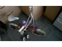 "pink girly bike, 13"" wheel"
