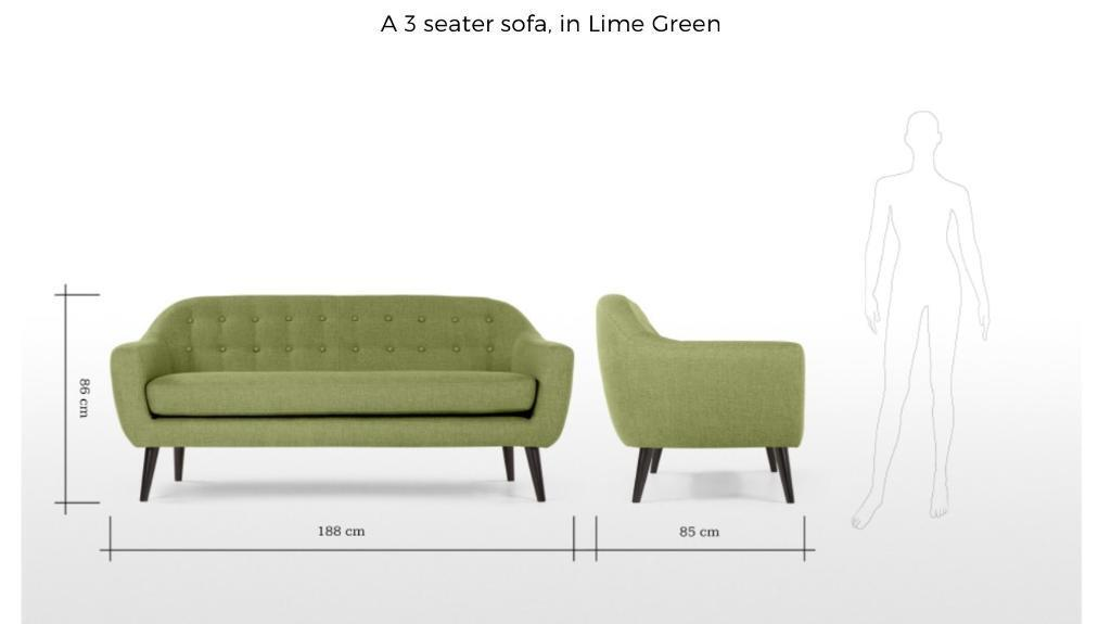 Lime Green 3seater button back sofa