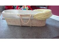 Moses basket and stand, 2 mattresses and 4 fitted sheets