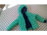 Mothercare green fleece-lined coat, Good Condition, 18-24months