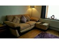 3 seater settee with arm chair and storage pouffe