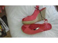 New Orange wedge sandals size 5