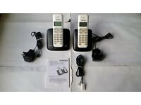 Talk Talk 1002B Twin Digital Cordless Telephones 2 Handsets, Chargers, Leads & Manual