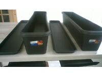 NEW - Black garden planter trough and drip tray - 100cm long, 4 piece Collect only