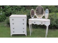 Decorative Kidney Shaped Dressing Table and Triple Mirror and Matching 4 Drawer Chest