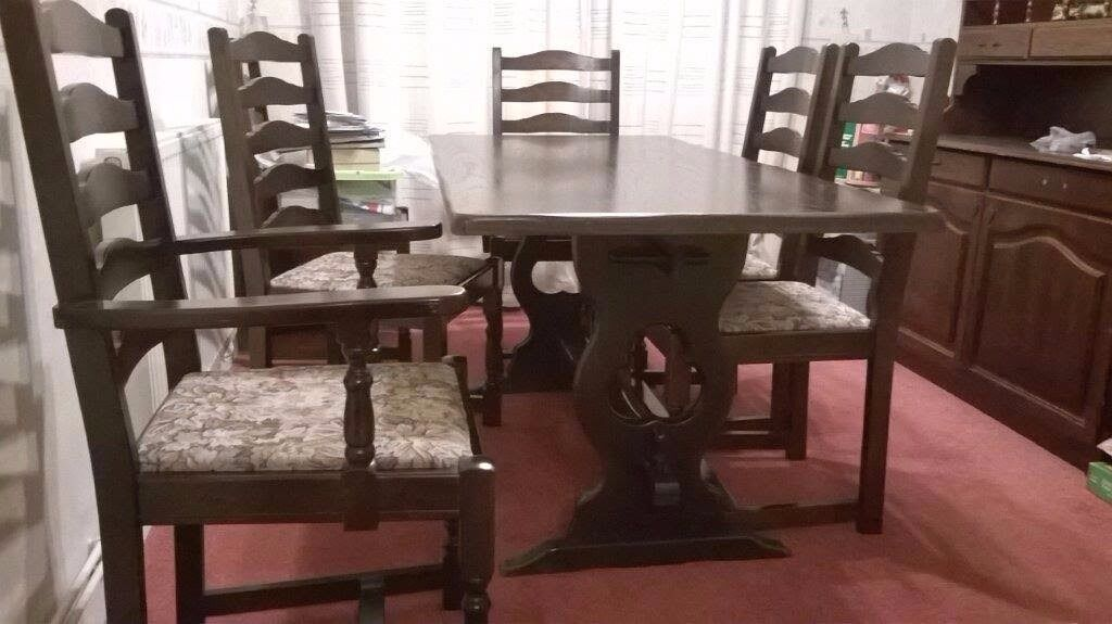 Dining Room Table and Chairsin Ipswich, SuffolkGumtree - For Sale 1 x Dining Room Table (H 28.5 cm, W 29.5 cm, L 165 cm) 6 x Dining Chairs (2 x Carvers) The table and chairs are in good condition and the table top has been covered almost all of the time. Selling these due to moving to a smaller property....