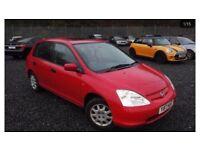 2001 HONDA CIVIC 1.4 PETROL 5DOOR HATCHBACK LOW MILEAGE LONG MOT VERY CLEAN AND MINT CAR £590.00