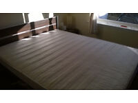 King Size bed with metal support frame and mattress. Used, good condition. CLEAN!!!