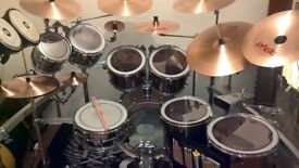 8-Piece Pearl Export EXX in Smokey Chrome (including 8x Hardcase Cases and 8x Evans Sound Off Mutes)
